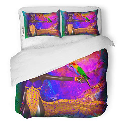 Semtomn Decor Duvet Cover Set Twin Size Brilliant Abstract Sets The Stage for Exotic Parrot 3 Piece Brushed Microfiber Fabric Print Bedding Set Cover ()