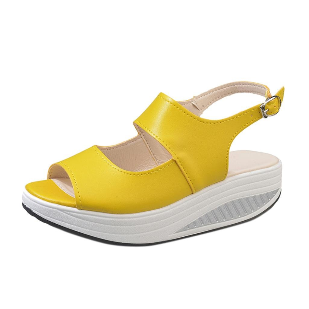 Outsta Women Shake Sandals, Summer Fish Mouth Thick Bottom High Heel Sandals Shoes (Yellow, US:7.5)