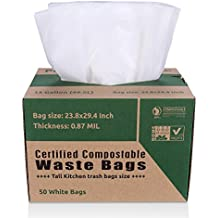 Primode 100% Compostable Bags, 13 Gallon Food Scraps Yard Waste Bags, Extra Thick 0.87 Mil. ASTMD6400 Biodegradable Compost Bags Small Kitchen Trash Bags, Certified By BPI And VINCETTE, (50)