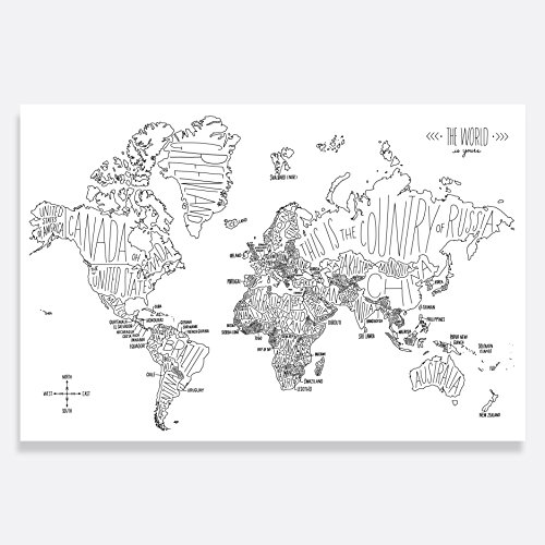 Easy Tiger Quality Art Print, Black and White Hand Lettered World Map (36x24) by Easy Tiger
