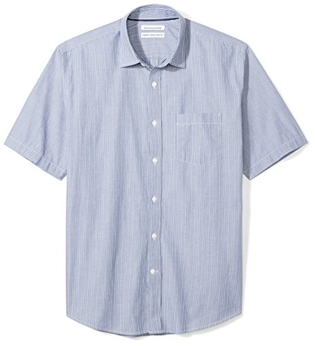 - Amazon Essentials Men's Regular-Fit Short-Sleeve Casual Poplin Shirt, navy stripe, Medium