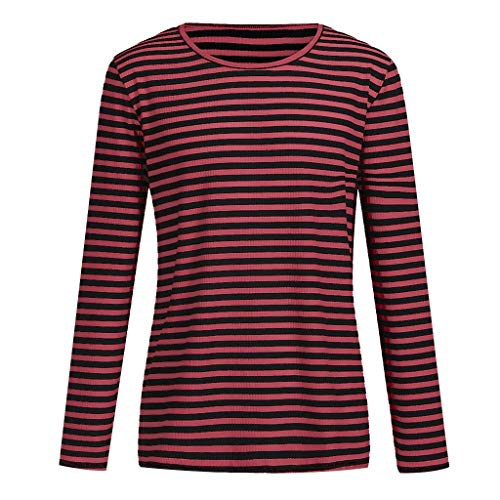 Yves Saint Laurent Print Vest - ANJUNIE Men Striped Pullover,Casual Fall Sweatshirt O-Neck Tops Blouse T-Shirts Sweater(Red,XXL)