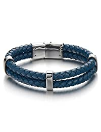 Men's Double-Lap Dark Blue Braided Leather Bracelet Leather Wristband with Steel Magnetic Box Clasp