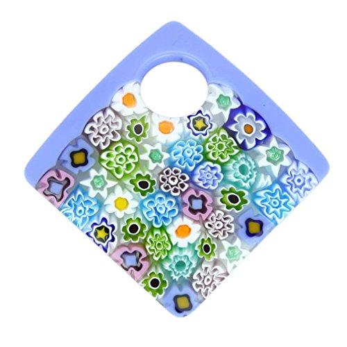GlassOfVenice Murano Glass Curved Square Millefiori Pendant - ()