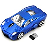 CHUYI Cool Sport Car Shape 2.4Ghz Wireless Mouse 3 Button 1600DPI High Tracking Speed Optical Mouse Gaming Mice USB Receiver for PC Laptop Computer (Blue)