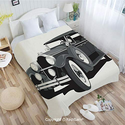 PUTIEN Super Soft Blankets for Couch Bed Birthday Old Timer American Black Car Classical Urban Travel Nostalgic Revival Engine Blanket for Home(49Wx78L)