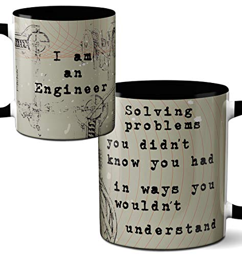 Engineer Mug by Pithitude - One Single 11oz. Black Coffee Cup