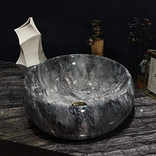 ZKS-KS グレーのバスルームクロークヨーロッパのヴィンテージスタイルアート洗面台セラミックカウンタートップ洗面浴室シンクヴィンテージ磁器のシンクの蛇口セット