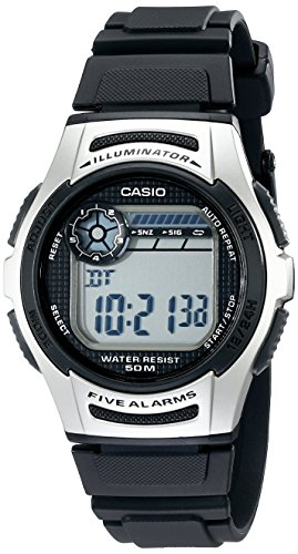 Casio Men's W213-1AVCF Basic Black and Silver Digital - Digital Countdown Timer Watch