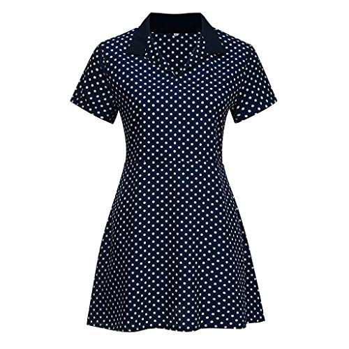 2019 New Womens Spot Printing Blouse, Casual V-Neck Short Sleeve Dot-Intarsia Printing Shirts Soild Summers Top Vest Blouse (Navy, M) by Aurorax Dress (Image #4)