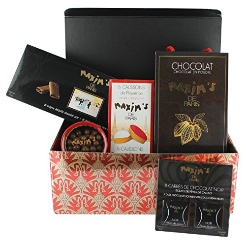 Maxim's de Paris Gourmet French Candies, Chocolate squares, Cookies & Chocolate powder (5 products) Gift basket 26.8oz 760g