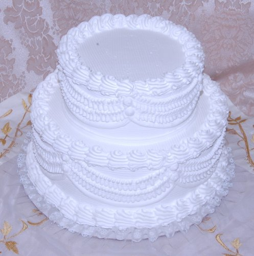 12'' 2 Tier Stacked Fake Wedding Cake Fake Food by Flora-cal Products