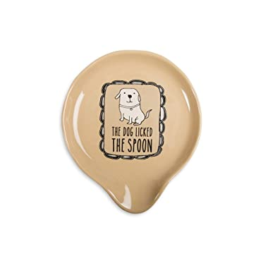 Pavilion Gift Company It's Cats & Dogs- The Dog Licked The Spoon  Tan Ceramic Spoon Rest, Small, Beige