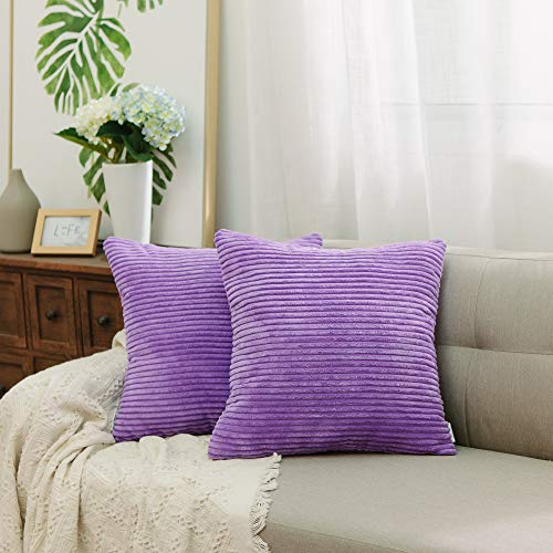 NATUS WEAVER 2 Sets Decor Supersoft Striped Velvet Corduroy Decorative Throw Toss Pillowcase Cushion Cover for Chair, Violet, (40 x 40 cm, 16 inch)