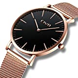 CIVO Mens Watches Ultra Thin Minimalist Luxury Fashion Business Dress Casual Waterproof Quartz Wrist Watch for Man Woman with Rose Gold Stainless Steel Mesh Band
