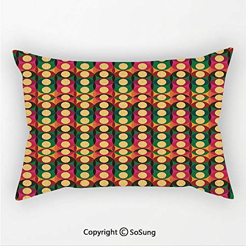 SoSung Retro Linen Car Neck Pillow,Pop Art Style Oval Geometric Figures with Inner Circles Pastel Toned Vintage Pattern Decorative,13.7x7.8Inches,for Sofa Bedroom Car & Home Decorate Multicolor