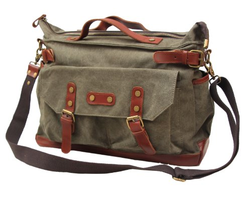 Gootium 30621AMG High Density Canvas Genuine Leather Deco Satchel,Armee-Gr¨¹n