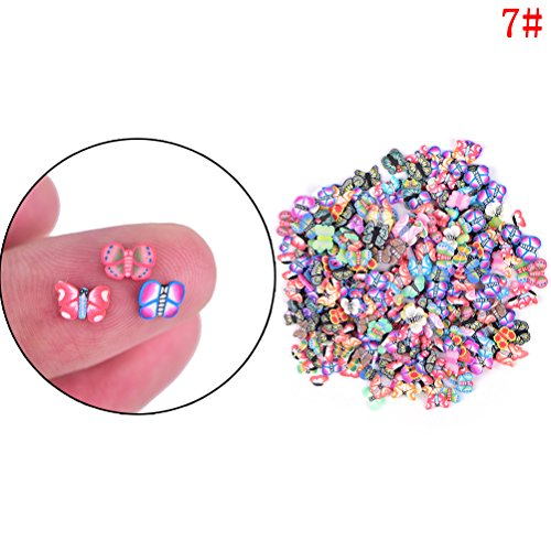 1 Pack Butterfly Nail Art Sticker Polymer Fimo Slices Manicure Nail Decor Beauty Tool for DIY slime goo floater by Team-Management