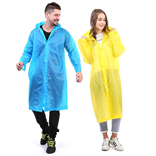 Cabelas Nylon Jacket (2Pcs Portable Reusable Rain Poncho Unisex Drawstring Raincoat Present Popular Deal Gift with Hood and Sleeves for Adults (Bule&Yellow))