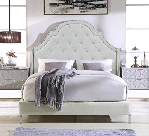 (Iconic Home Nero Bed Frame with Wingback Headboard Velvet Upholstered Button Tufted Silver Nail Head Trim Stainless Steel Metal Legs, Modern Transitional, Queen, Cream White)