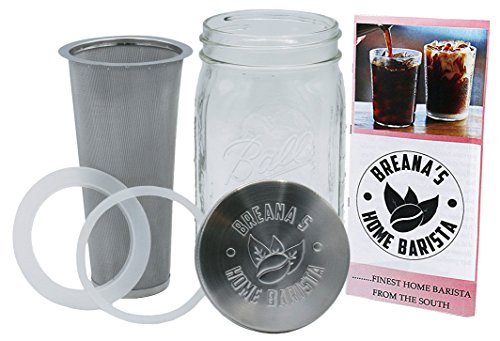 32 Oz Ball Mason Jar Cold Brew Coffee Maker - Iced Tea or Fruit Infuser - Cold Brew System & Kit Stainless Steel Filter, Lid & Silicone Seal For Coarse Ground Coffee Beans & Dried Tea Leaves - 1 Quart by Breana's Home Barista (Image #1)