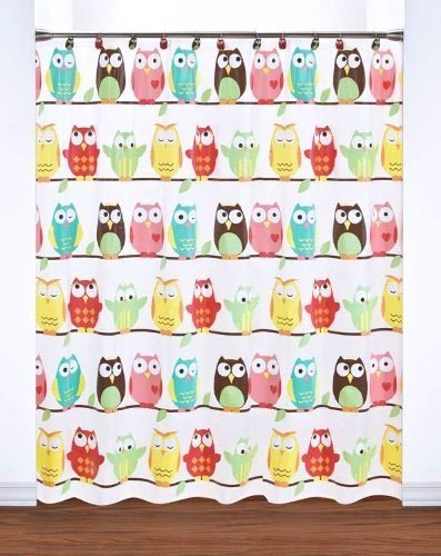 Saturday Knight Owl Shower Curtain - Simple wipe clean care Lightly frosted clear PEVA background Bright cheerful colors coordinate with everything - shower-curtains, bathroom-linens, bathroom - 51Qq5q7P9QL -
