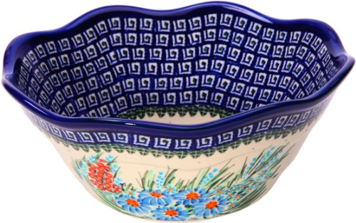 Polish Pottery Ceramika Boleslawiec 0424/169 Royal Blue Patterns with Blue Daisy and Orange Phlox Motif Bowl Viki 2, 6-1/2-Cup