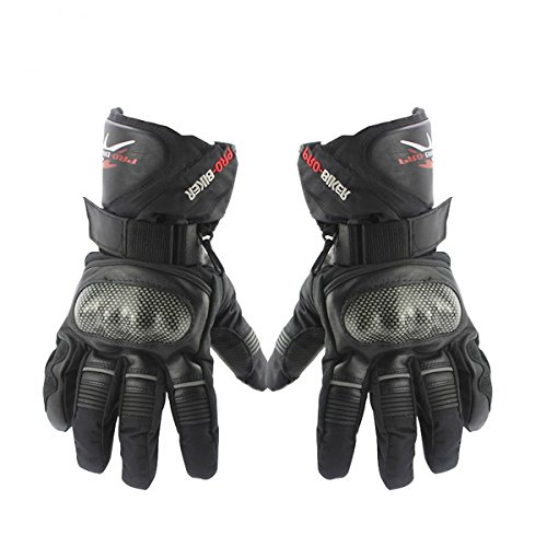 TAIPU New Hot Sale Free Shipping Motorcycle Falling Preventing Skidproof Thickened Long Winter Full Finger Warm Ski Cycling Gloves M L XL (M, Black)