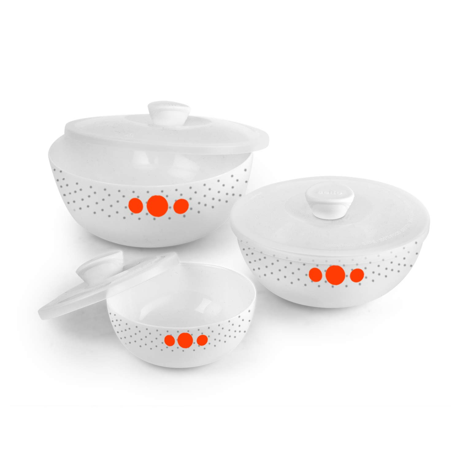 Cello Polka Drops Opalware Mixing Bowls, 3-Piece, White
