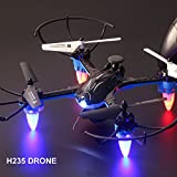Qiyun RC Drone 4 Channel RC Drone Mini Headless Mode Helicopter 2.4G 10-Axis Real-time Transmission Gyro Helicoptercolour:Black Grid WIFI camera