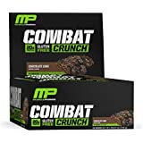 MusclePharm Combat Crunch Protein Bar, Multi-Layered Baked Bar, 20g Protein, Low Sugar, Low Carb, Gluten Free, Chocolate Cake, 12 Bars