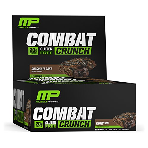 - MusclePharm Combat Crunch Protein Bar, Multi-Layered Baked Bar, Gluten-Free Bars, 20 g Protein, Low-Sugar, Low-Carb, Gluten-Free, Chocolate Cake Bars, 12 Servings
