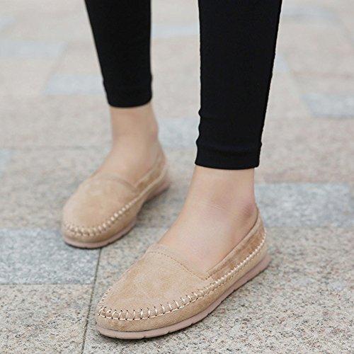 Maybest Dames Casual Werk Comfort Leer Loafer Platte Pumps Mocassins Erwten Schoenen Beige
