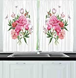 Images of Kitchen Window Curtains Ambesonne Kitchen Decor Collection, Floral Watercolor Style Card Design Bloom Wildflowers Butterflies Bouquet Polkadot, Window Treatments for Kitchen Curtains 2 Panels, 55X39 Inches, White Pink Green