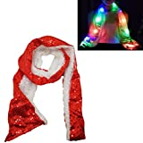 Luwint LED Sequin Flashing Scarf - Colorful Light Up Rave Clothing Accessories Toys for Christmas Birthday Party (Red)