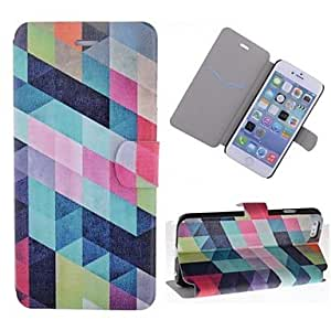 ZXSPACE Special Grains Colorful Grids Pattern PU Leather Full Body Case with Card Slot for iPhone 6
