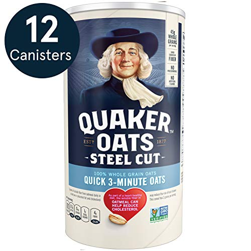 Quaker Steel Cut Quick 3-Minute Oats, Non GMO Project Verified, 25oz Canister, 12 Count