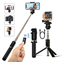 Selfie Stick Tripod with Remote and 1/4 Camera Mount Holder for Gopro Camera iPhone X 8 7 7plus 6s 6 5s Android Samsung 3.5-6 inch Smartphone - BlitzWolf 4 in 1 Extendable Monopod Mini Pocket Wireless Selfie Stick 360 ° Rotation BestGifts