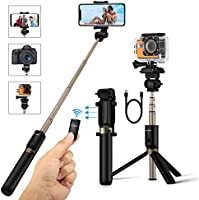 Selfie Stick Tripod with Remote for Gopro Camera iPhone X 8 7 7plus 6s 6 5s Android Samsung 3.5-6 inch Smartphone - BlitzWolf 3 in 1 Extendable Monopod Mini Pocket Wireless Selfie Stick 360 ° Rotation Best Gifts