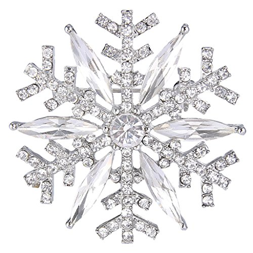EVER FAITH Silver-Tone Austrian Crystal Winter Art Deco Snowflake Flower Brooch Pin Brooches And Pins