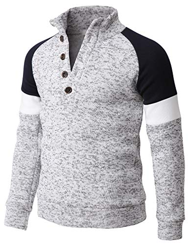H2H Mens Knitted Slim Fit Pullover Sweater Raglan Sleeve Napping Thermal White US S/Asia L (KMOSWL264)