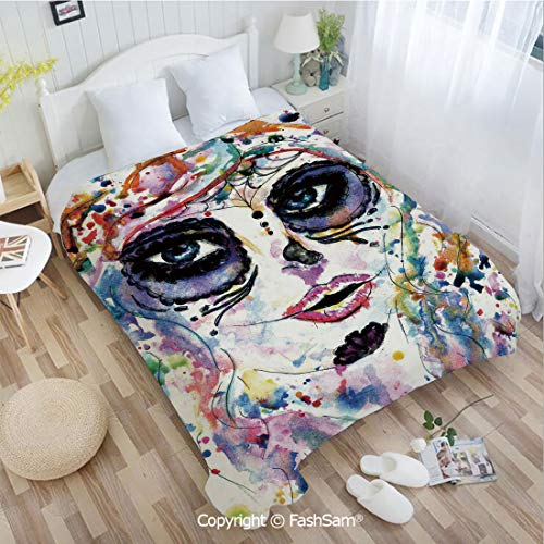 PUTIEN Unique Rectangular Flannel Blanket Halloween Girl with Sugar Skull Makeup Watercolor Painting Style Creepy Decorative Blanket for Home(49Wx78L)