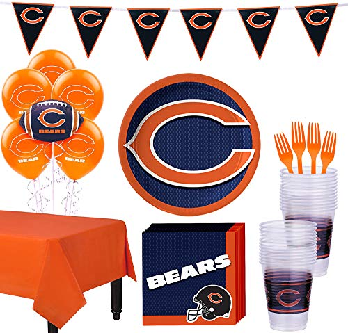 Party City Chicago Bears Super Party Supplies for 18 Guests, Include Plates, Napkins, Table Cover, and Balloons
