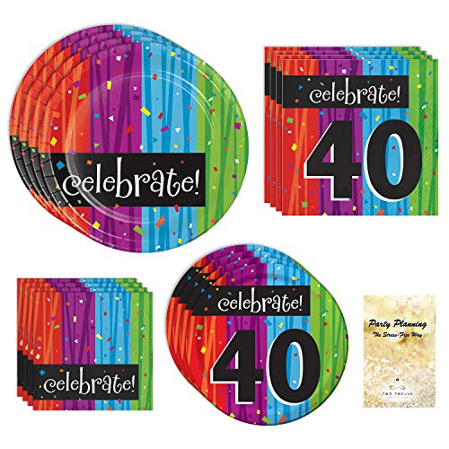 (40th Birthday Party Supplies, Colorful Milestone Celebrations Design, Bundle of 4 Items: Dinner Plates, Dessert Plates, Lunch Napkins and Beverage)