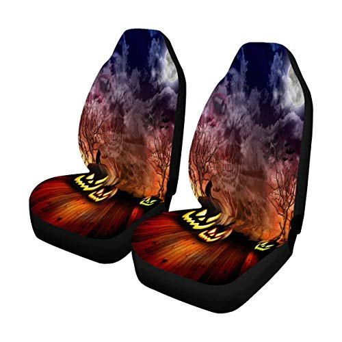 INTERESTPRINT Scary Halloween Pumpkins are in Dark Scene with Clouds Front Seat Covers 2 pc, Entire Seat Protection, Car Front Seat Cushion for Pets Running Gym ()