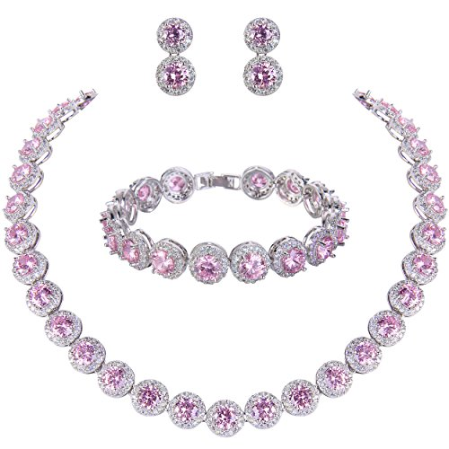 EVER FAITH Women's Round Cubic Zirconia Wedding Necklace Bracelet Pierced Earrings Set Pink Silver-Tone (Necklace Bracelet Pierced Earring)