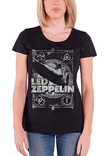 Led Zeppelin T Shirt Vintage Print Led Zepp 1 Official Womens Junior Fit Black Size 10