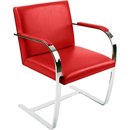 Brno Chair Ludwig Mies Van Der Rohe Style Faux Leather Red