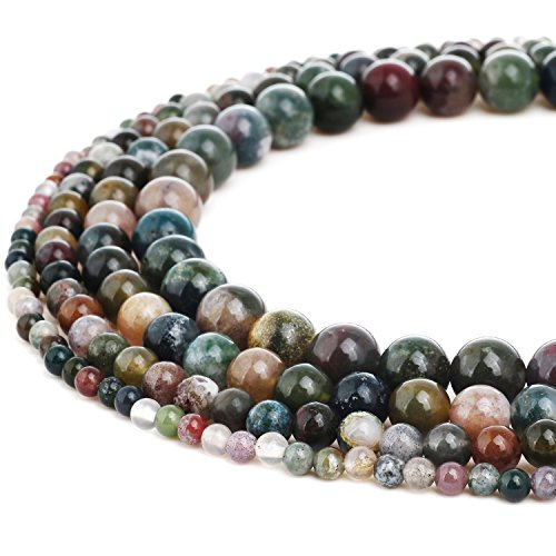 (RUBYCA Natural Indian Agate Gemstone Round Loose Beads Quartz for DIY Jewelry Making 1 Strand - 6mm)