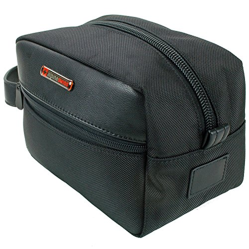 Alpine Swiss Hudson Travel Toiletry Bag Shaving Dopp Kit Black